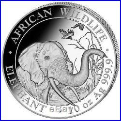 2013 Somalia Elephant Silver African Wildlife 1 Oz Air-Tite® Majestic Coin