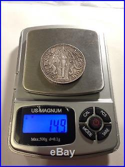 1916 Thailand, 1 Baht, Silver Coin, Elephant Heads, Rama VI, Original/High Grade