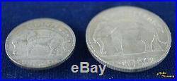 1929 Thailand Rama VII 25/50 Satang Silver Coin Y-48/49 Pair Siam Elephant Au