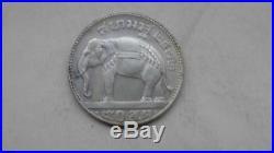 1929 Thailand Siam BE2472 1/2 Baht Rama VII 50 Satang Elephant Silver Coin