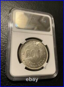 1944 Belgian African Congo 50 Francs Silver Coin Ngc Ms61 Elephant Belgium Ms 61