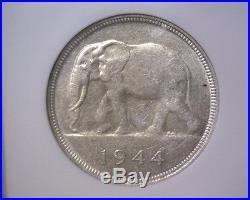 1944 Belgian Congo 50 francs coin NGC AU50 Elephant