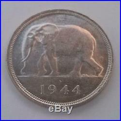 1944 Belgian Congo Elephant 50FR Coin Silver Extra Fine KM. 27