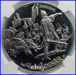 1969 TUNISIA History HANNIBAL ELEPHANTS Vintage Proof Silver 1D Coin NGC i89286