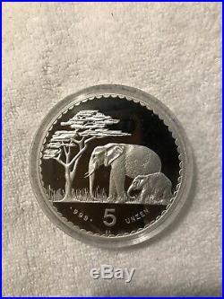 1987 Namibia Elephant 5 OZ. 999 Silver Coin