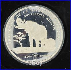 1992 Republica de Guinea Ecuatorial 15000 Francos. 999 Silver Elephant Coin