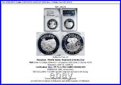 1996 ZIMBABWE Wildlife ELEPHANTS AFRICAN OLD Silver 10 Dollar Coin NGC i89218