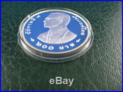 1998 200bath Thailand Silver Proof Coin Wwf Conserving Nature Elephant -rare