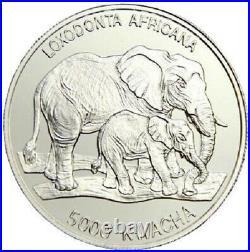 1999 Zambia 5000 Kwacha Proof. 999 Silver Coin Loxodonta Africana ELEPHANT