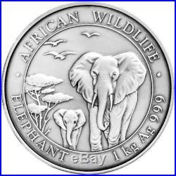 1 kg kilo 2015 Somalian African Antiqued Elephant Silver Coin