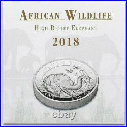 1 oz Somalia Elephant High Relief Proof 2018 1oz Fine Silver 9999 BE Bullion