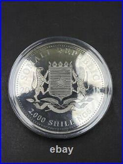2000 Shillings 2018 Somalia Elephant Silver Kilo 32.15 Oz 99.99% Silver