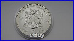 2000 Zambia 5000 Kwacha Elephant 1 oz Silver Matte finish colored coin