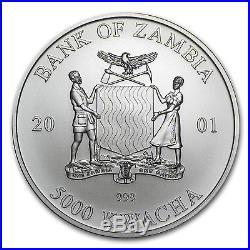 2001 1 oz Silver Zambian Elephant Coin Brilliant Uncirculated SKU #85501