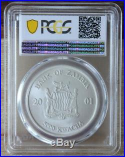 2001 PCGS MS69 Matte Silver Zambia Elephant One Ounce Pop 1