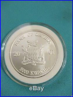 2001 Zambia 1 oz African Wildlife Elephant. 999 Silver colored coin