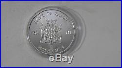 2001 Zambia 5000 Kwacha Elephant Silver MATTE Finish Coin