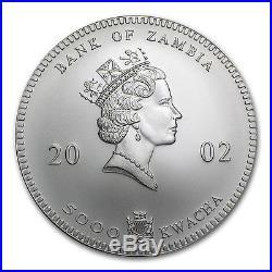 2002 1 oz Silver Zambian Elephant Coin Brilliant Uncirculated SKU #85500