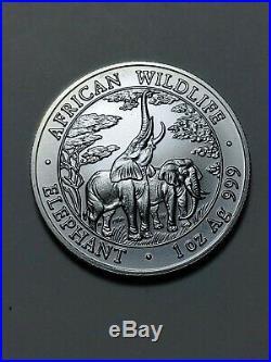 2003 AFRICAN WILDLIFE ELEPHANT 5000 KWACHA 1oz SILVER UNCIRCULATED ZAMBIA
