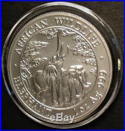 2003 Silver Zambia African Wildlife Elephant 1 oz. 999 Silver 5000 Kwacha Coin