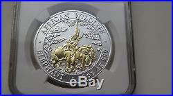 2003 Zambia 5000 Kwacha Elephant Gold Gilded Silver BU coin