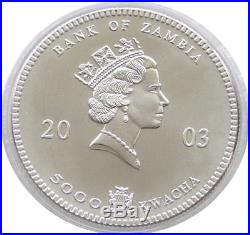 2003 Zambia African Wildlife Elephant 5000 Kwacha Fine. 999 Silver 1oz Coin