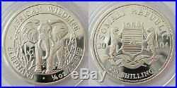 2004 Somalia Silver Proof African Wildlife Four Coin Set African Elephant