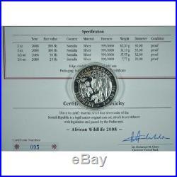 2005-2006-2007 & 2008 4 coin set SOMALIA African Wildlife ELEPHANT