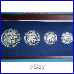 2005-2006-2007 & 2008 4 coin set SOMALIA African Wildlife ELEPHANT elefant