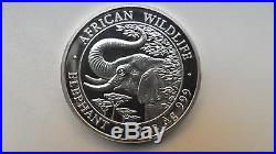 2005 Somalia 100 Shillings Elephant Silver BU Coin