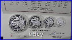 2005 Somalia African Wildlife Elephant 4 coin Silver Proof Set