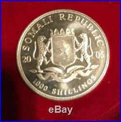 2005 Somalia Elephant 1 Oz Silver Coin African Wildlife