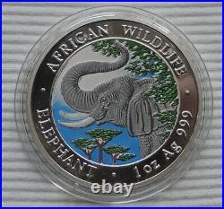 2005 Somalia Elephant 1 oz silver 999 color coin African Wildlife Somali Elefant