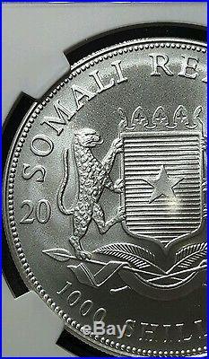 2005 Somalia elephant NGC MS70 Silver 1oz Very low mintage! Key date! Top Pop