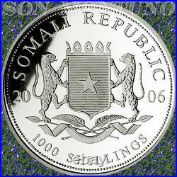 2006 SOMALIA African Wildlife ELEPHANT 1 Troy Oz. 999 Silver BU Coin in Capsule