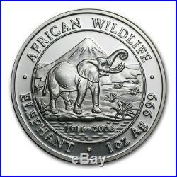 2006 Somalia African Wildlife 1 oz Silver Elephant Coin (BU) in Capsule