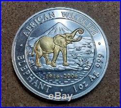 2006 Somalia Silver Elephant- Gilded African Wildlife 1 Ounce. 999 Silver