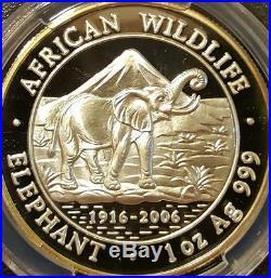 2006 Somalia elephant PCGS proof PR69DCAM 1oz silver Lone Top Pop