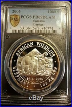 2006 Somalia elephant PF69 PR69 PCGS not NGC Silver 1oz Low mintage! Proof