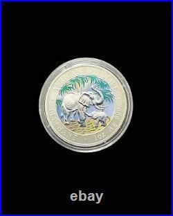 2007 1oz Fine Silver 999 Somalia AFRICAN WILDLIFE ELEPHANTS 3-coins Set Wood Box