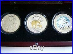 2007 Africa Silver Elephant Silver 3 Coin Set (Reg, Gold, Color) See Details