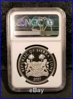 2007 African Animals ELEPHANT PROOF Sierra Leone Bank Silver Coin NGC PF-69