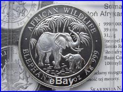 2007 SOMALIA African Wildlife ELEPHANT 1 Troy Oz. 999 Silver BU Coin in Capsule