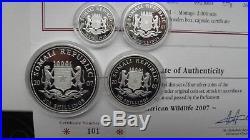 2007 Somalia African Wildlife Elephants 4 coin Silver Proof Set