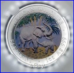 2007 Somalia Silver S100s African Wildlife Elephant Colorized Ngc Ms 69