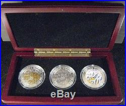 2008 Somalia 100 Shilling 3 Coin Silver Set Elephant FREE U. S. SHIPPING