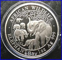 2008 Somalia African Wildlife 1 oz Silver Elephant Coin (BU) in Capsule