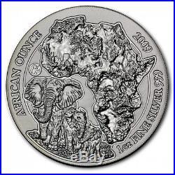 2009 1 oz Silver Rwanda African Elephant. 999 Fine Silver RARE! Rwandan coin