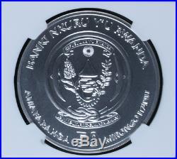 2009 1 oz Silver Rwanda African Elephant NGC MS69.999 Silver Rwandan coin