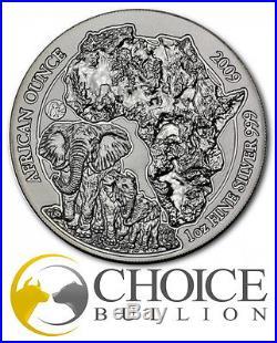 2009 Fabulous 12 RWANDA Elephant, 50 FRW 1 OZ. 999 SILVER Coin